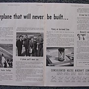1938  Consolidated VULTEE AIRCRAFT Corporation Double Page Spread Advertisement