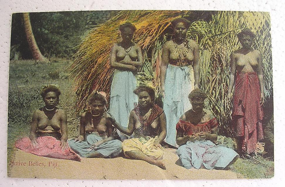 RARE Vintage FIJI 'Native Belles' Postcard Circa Early 1900's