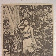 RARE 1906 Samoan Topless Wahine Postcard 'Greetings From Samoa'