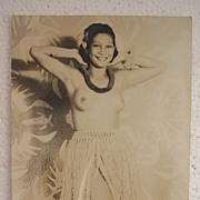 Topless HAWAIIAN HULA Girl World War Two Vintage Postcard