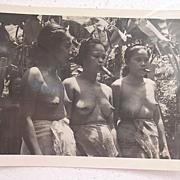 Vintage Postcard Of Three Topless Native FILIPINO Girls Smoking Cigars
