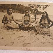 Vintage Topless Samoan Native Girls With KAVA Bowl