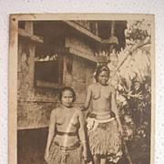 Rare Vintage Japanese YAP ISLAND Topless Native Girls Postcard