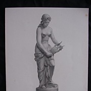 Genuine Old Victorian Engraving 'SAPPHO' From The Statute By W.H. THEED