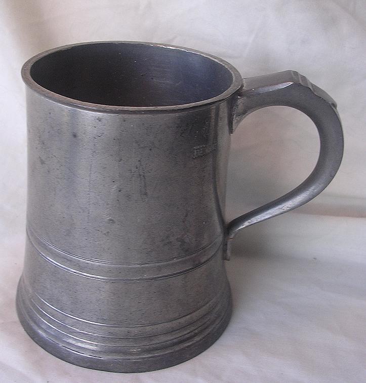 Victorian JAMES YATES Cylindrical Polished Pewter Pint Tankard