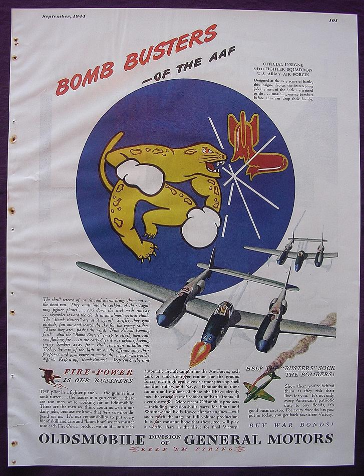 Esquire Oldsmobile Advert 'BOMB BUSTER' 54th Fighter Squadron' September 1944