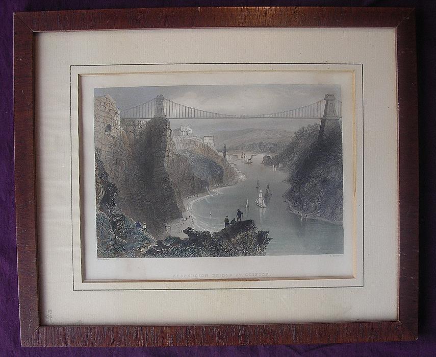 Victorian Hand Coloured Steel Engraving 'SUSPENSION BRIDGE AT CLIFTON' Circa 1840