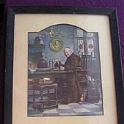 Vintage A.L. GRACE Framed Print of Jolly Monk With Plum Pudding
