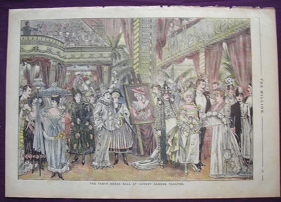 1892 Full Page From THE MILLION Newspaper 'Fancy Dress Ball At COVENT GARDEN Theatre'