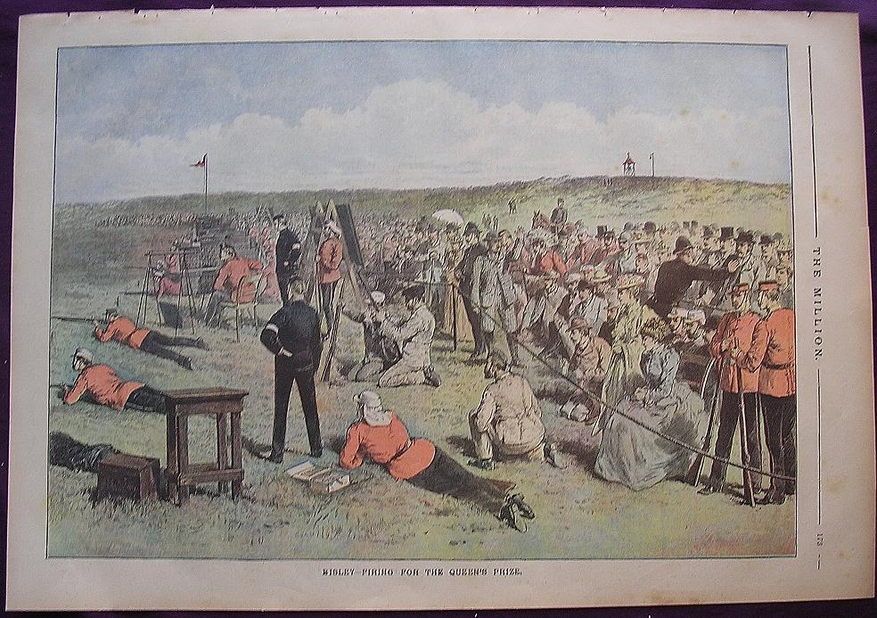 1892 Full Page From THE MILLION Newspaper ' Bisley - Firing For The Queen's Prize'