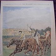 SOLD 1892 Full Page From THE MILLION Newspaper 'The Race For The St. Leger'