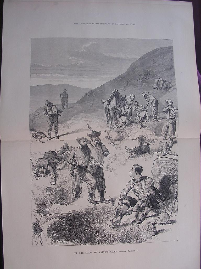 """TRANSVAAL WAR  'On The Slope Of Laing's Neck"""" Evening January 28' Illustrated London News April 1881"""