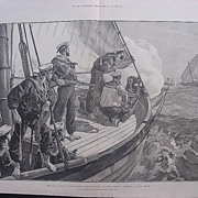 'The East African Slave Trade: Steam-Pinnace of  H.M.S. LONDON Chasing A Slave Dhow' - Illustr