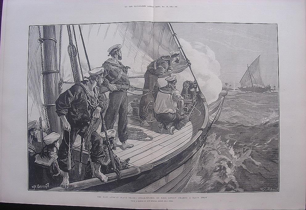 'The East African Slave Trade: Steam-Pinnace of  H.M.S. LONDON Chasing A Slave Dhow' - Illustrated London News Dec.17 1881