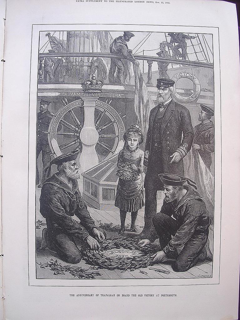 'The Anniversary Of Trafalgar On Board The Old Victory At Portsmouth' - Illustrated London News Oct. 22 1881