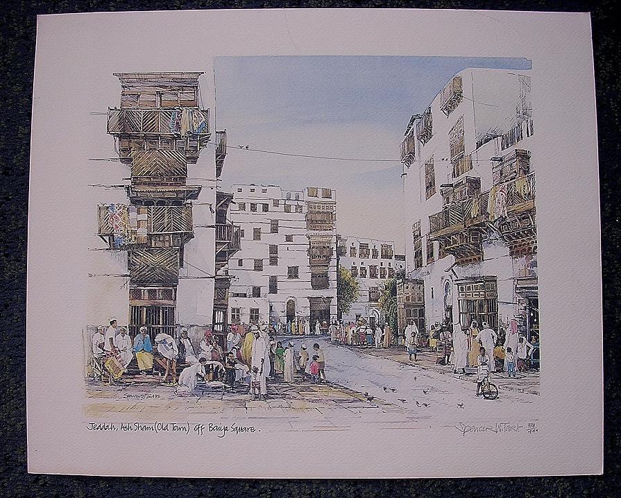 SPENCER W. TART. Limited Edition Print 'Jeddah Ash Sham - Off Baifi Square'