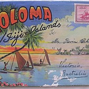 1930'S Postcard Fold Out 'LOLOMA Fiji Islands'