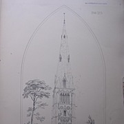 Stunning Large 1858 Lithograph of SAINT PETER'S -  RAUNDS - Northamptonshire