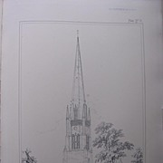 Stunning Large 1858 Lithograph of SAINT MARY'S - Bloxham - Oxfordshire