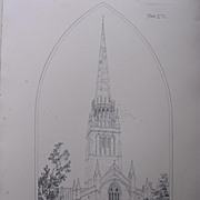 Stunning Large 1858 Lithograph of SAINT PATRICK'S - Patrington - Yorkshire