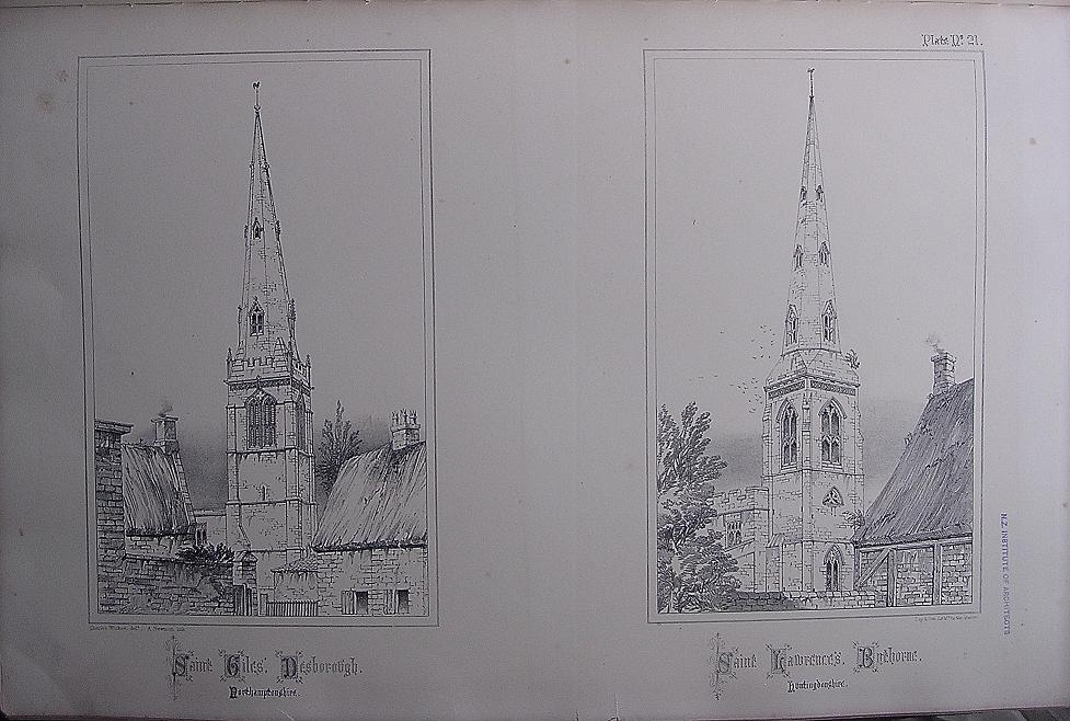 Stunning Large 1858 Lithograph of St. GILES - Desborough  &  St. LAWRENCE'S - Bythorne