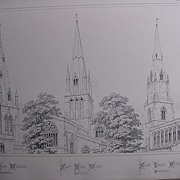 Stunning Large 1858 Lithograph of St. MARY'S - Wollaston.  St. MARY'S - Witney, St. JAMES' - S