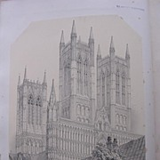 Stunning Large 1858 Lithograph of THE CATHEDRAL  - LINCOLN - Lincolnshire