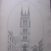 Stunning Large 1858 Lithograph of SAINT MARY MAGDALENE - Taunton - Somersetshire