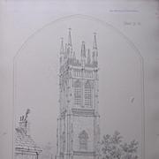 Stunning Large 1858 Lithograph of SAINT PROBUS & SAINT GRACE - Probus - Cornwell