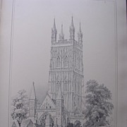 Stunning Large 1858 Lithograph of THE CATHEDRAL - GLOUCESTER - Gloucestershire