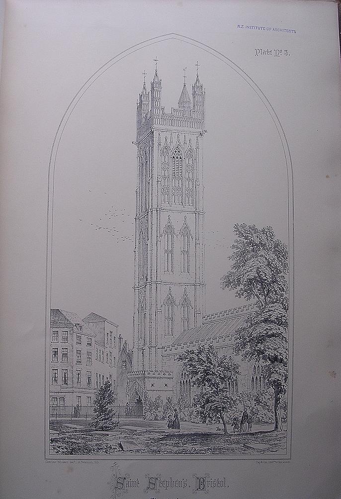 Stunning Large 1858 Lithograph of SAINT STEPHEN'S - Bristol - Gloucestershire