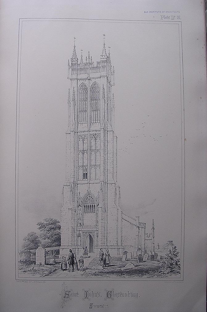 Stunning Large 1858 Lithograph of SAINT JOHN'S - Glastonbury - Somersetshire