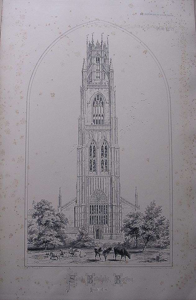 Stunning Large 1858 Lithograph of SAINT BOTOLPH'S - Boston - Lincolnshire