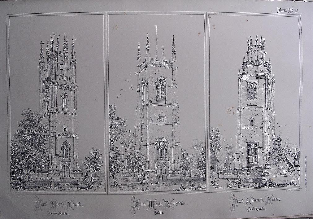 Stunning Large 1858 Lithograph of St. PETER'S - Lowick: St. MARY'S - Worstead: St.ANDREWS -  Sutton