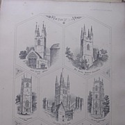 Stunning Large 1858 Lithograph of St. MARY'S - Ashford: THE HOLY TRINITY - Buckland-Monachoram