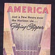 Vintage 1947 Pan American Airways 'AMERICA' Pamphlet
