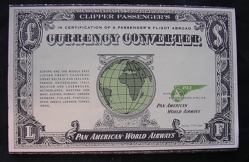 Vintage 1955 PAN AMERICAN Currency Converter Booklet