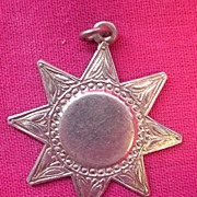 Victorian Sterling Silver 'SUN' Watch Fob Pendant