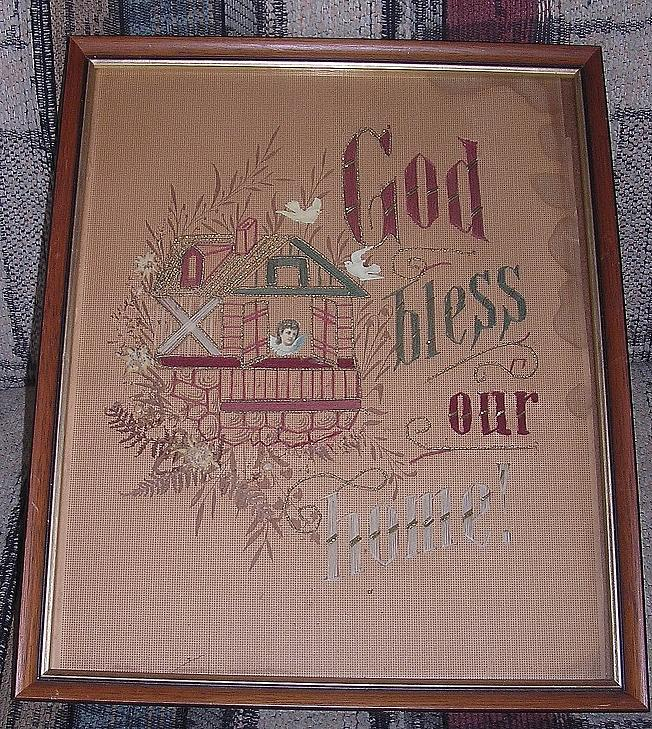 Victorian Needle Point 'God Bless Our Home' Circa 1880