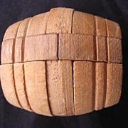 Tiny Treen Victorian Puzzle Barrel