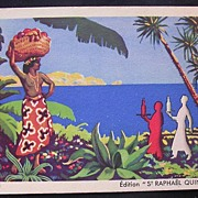 Fabulous Old Advertising Postcard for St. Raphael Quinquina.