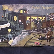 1913 German Postcard Of A Train 'Prosit Newjahr!'
