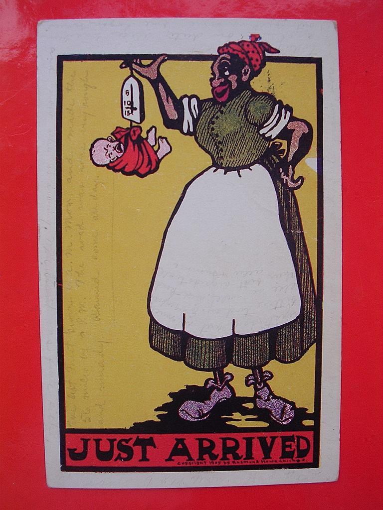 "BLACK AMERICANA 1907 Black Mammy Card ""Just Arrived"""