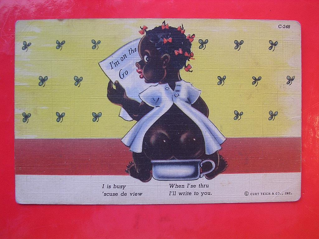 Old Black Americana Curt Teich Card  'I is Busy 'Scuse de View'