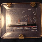 Old Perspex Souvenir Cigarette Case From the S.S. ATLANTIS  Circa 1930