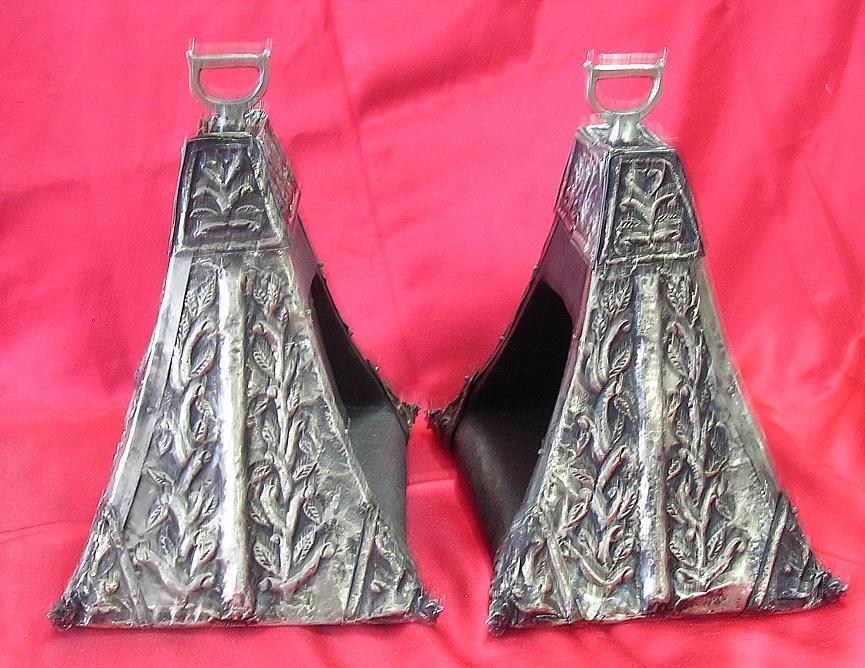 RARE Peruvian Alpacca Silver Over Wood Shoe Stirrups Circa 1830-1860