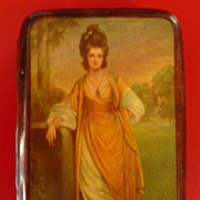 Art Deco 1930's Cigarette Case With Georgian Beauty On Cover