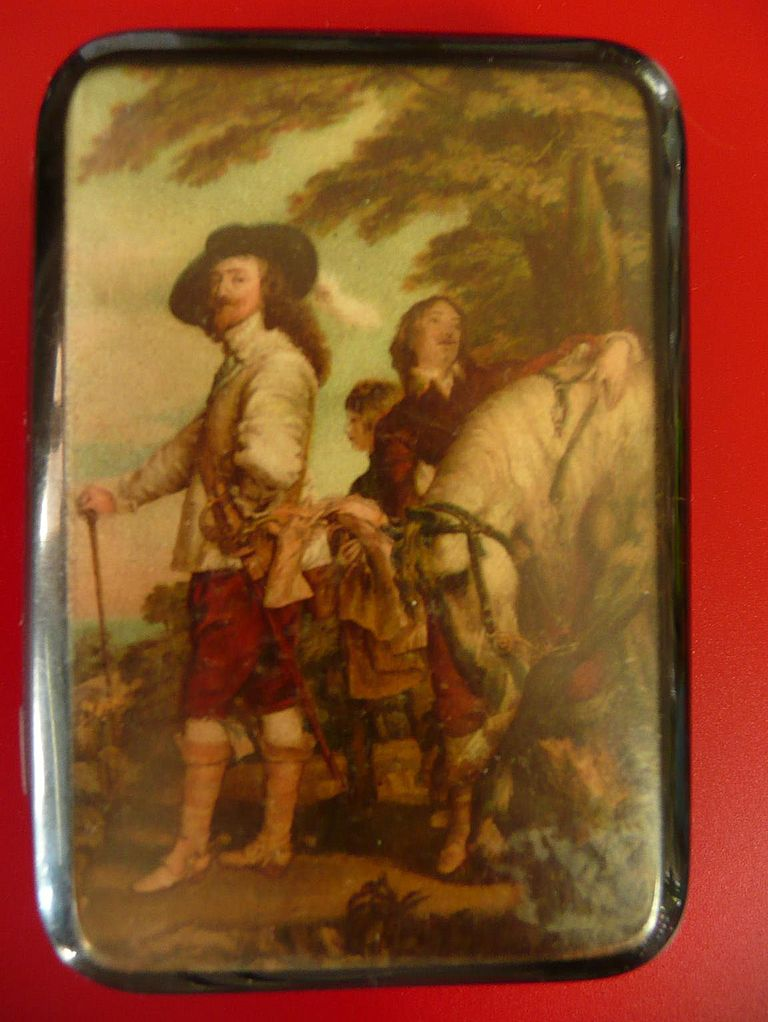 Art Deco 1930's Cigarette Case with Royalist Gentleman & Horse on Cover