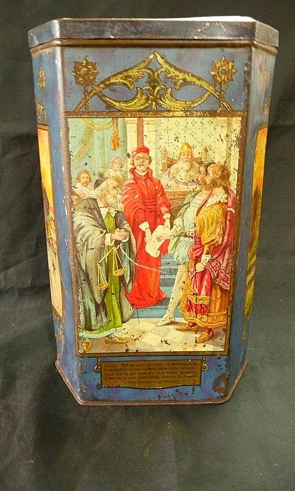 "Victorian Era Hexagonal Tin for ""VICTORY V Gums & Lozenges"" Circa 1890-1900"
