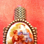 Tiny Perfume Bottle With Porcelain Decorative Panel